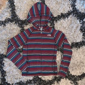 The North Face Striped Fleece Hooded Sweater M